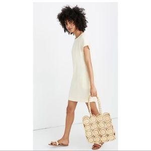 Madewell Stripe-Play Button-Back Linen Dress XS